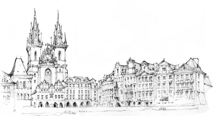 手绘画城堡宫殿图