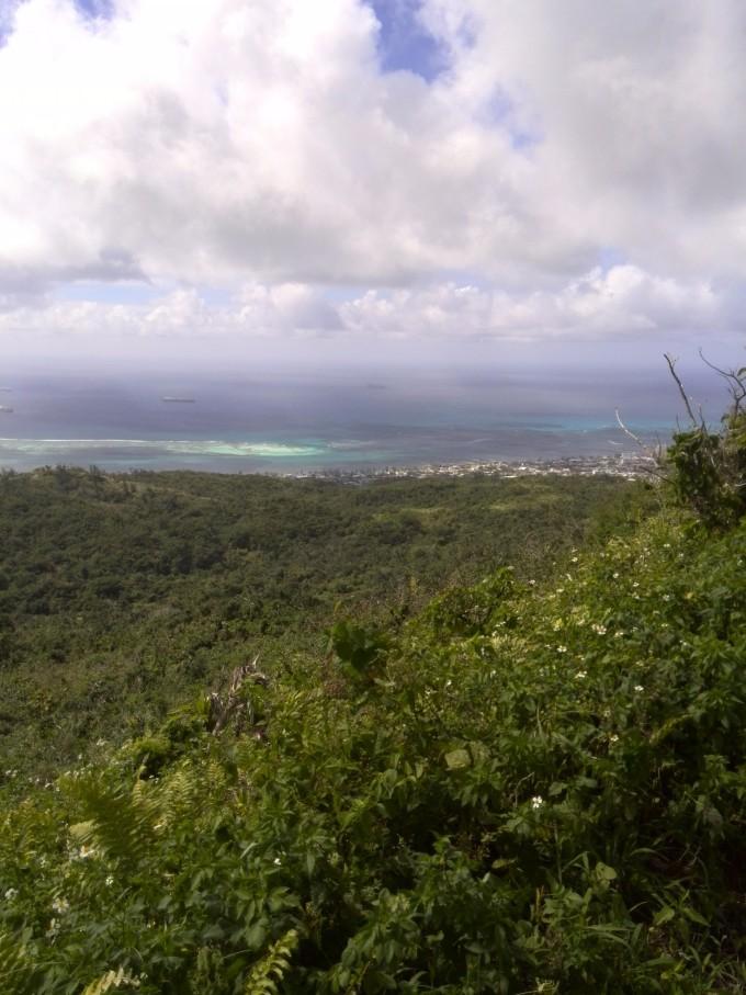 山上风很大,游客不停拍照,看着下面漂亮的太平洋景色和蓝天白云
